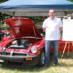 """David Dyer from Modern Classic Cars, with his """"Upgraded"""" MGBGT."""